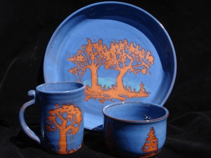 Photo of plate, cup and bowl from Lakeside Studio